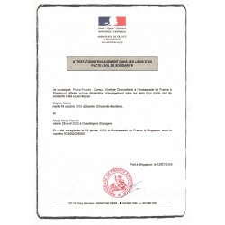 certificado de Acuerdo de Unión Civil francés