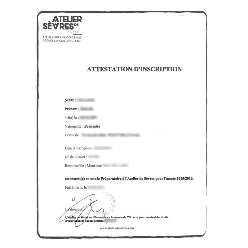 Certificado de inscripción FR francés