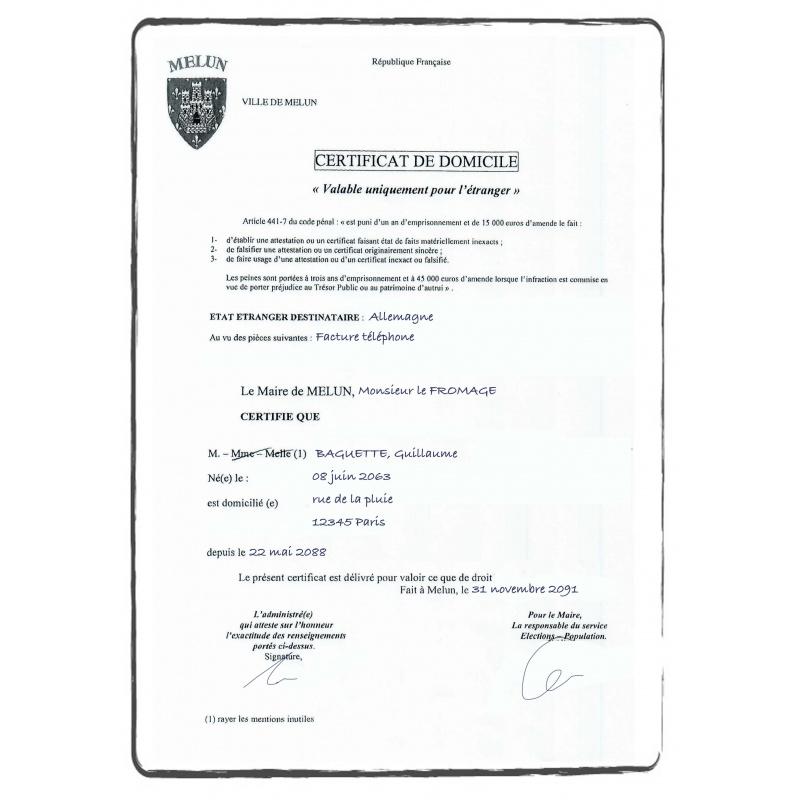 certificado de domicilio / certificado de residencia FR francés